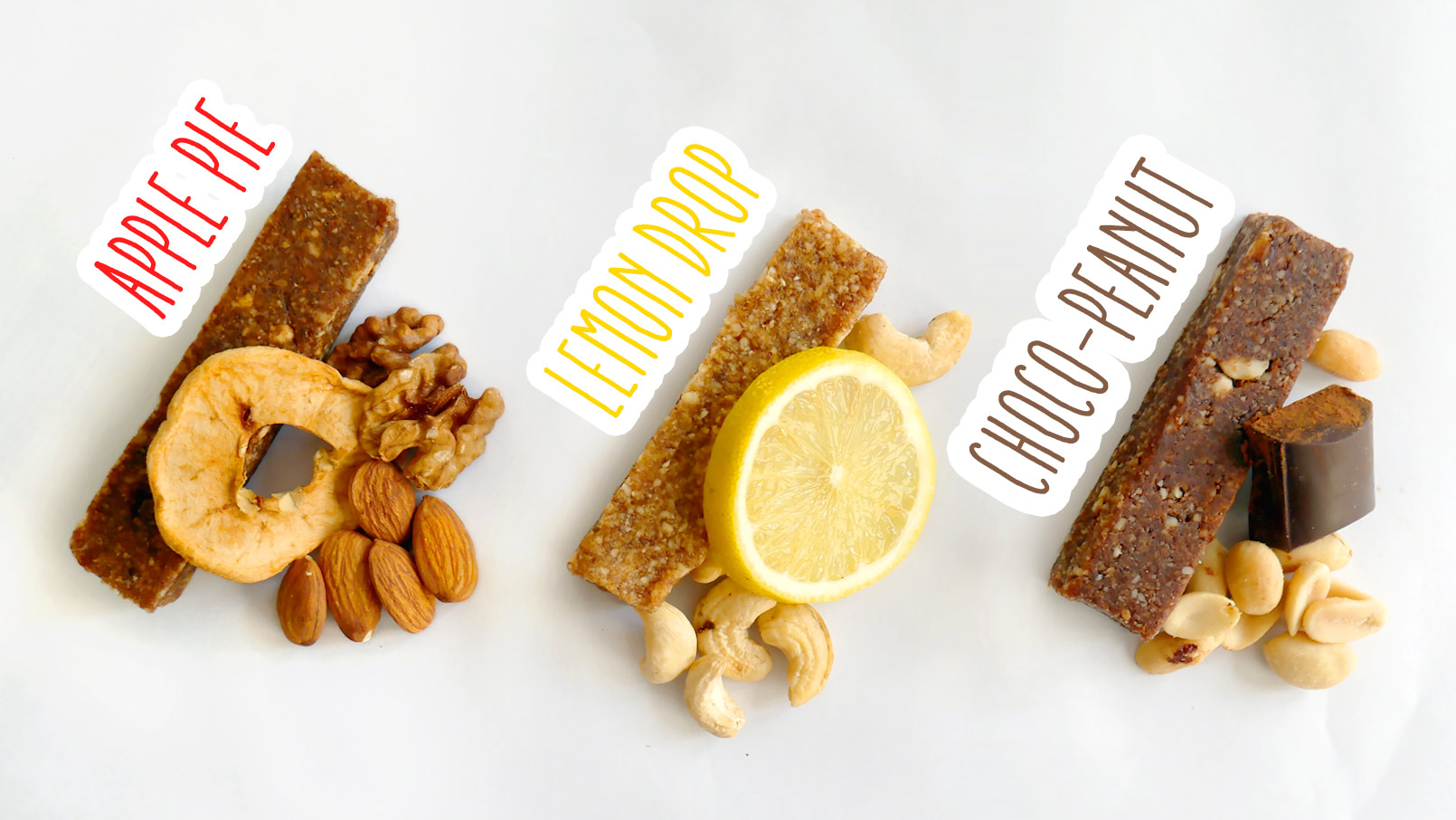 Lemon drop, chocolate peanut, and apple pie energy bars
