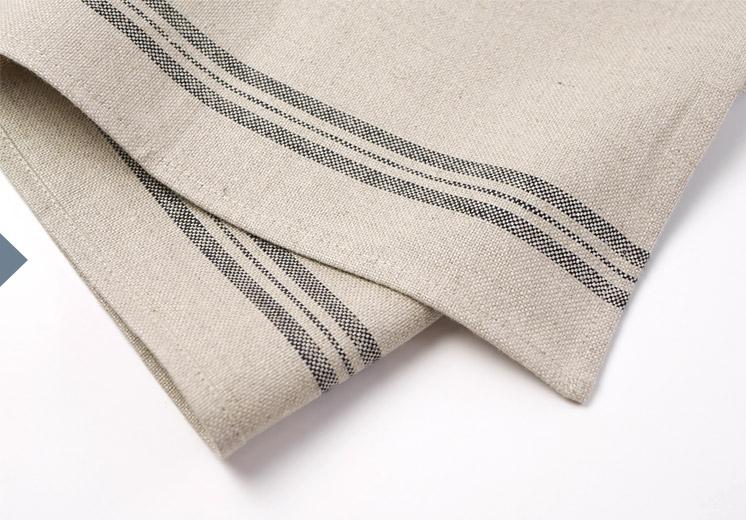 Linen tea towel with black stripe