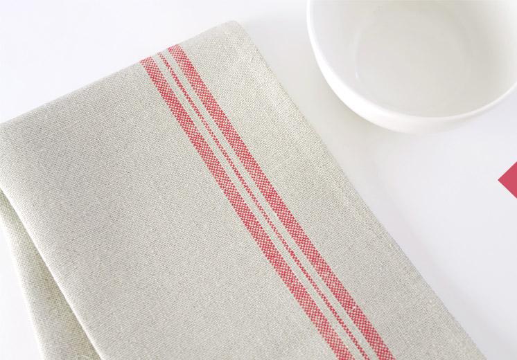 Linen tea towel with red stripe